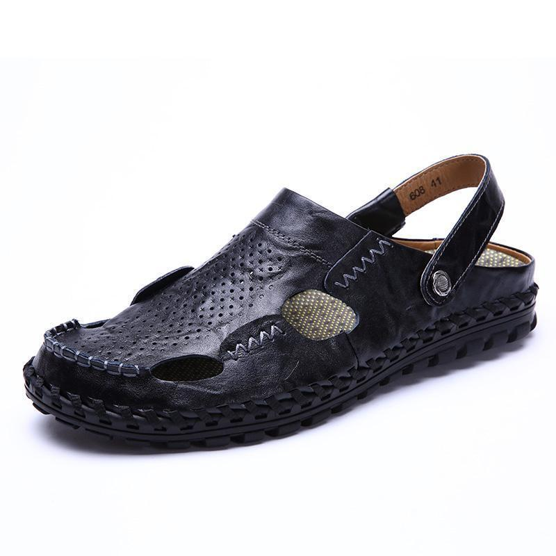 Men Summer Hollow Out Casual Outdoor Fashion Leather Beach Soft Flat Sandal Shoes