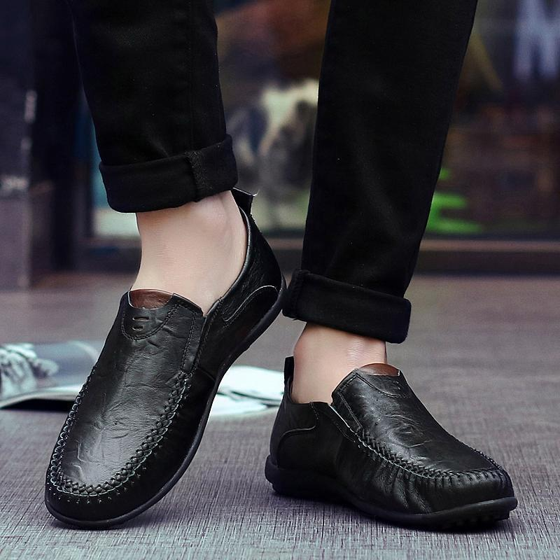 Big Size Men Genuine Leather British Style Soft Slip On Business Shoes
