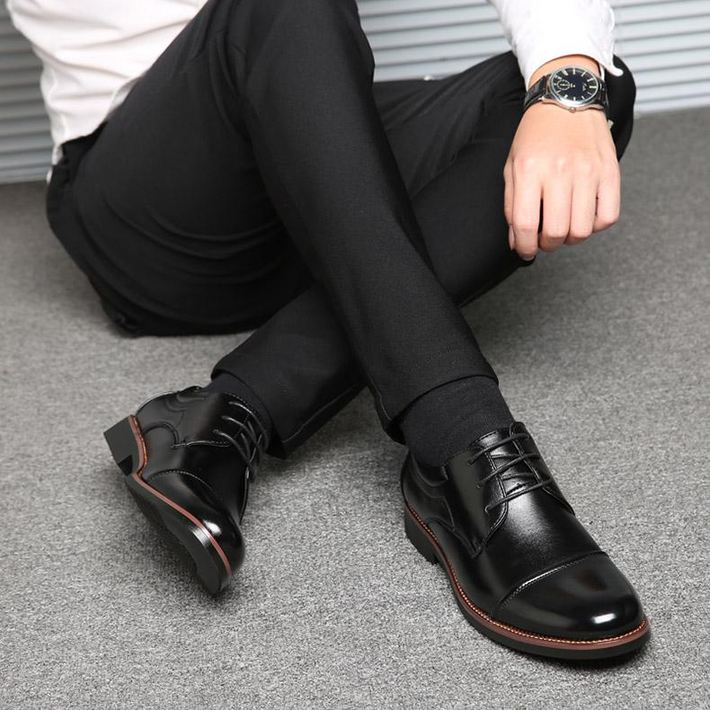 Men Dress Shoes Formal Business Work Soft Patent Leather Pointed Toe Shoes
