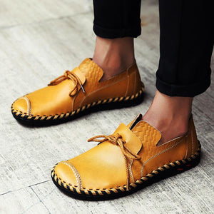 Men Casual Flats Leather Outdoor Lace Up Soft Round Toe Oxfords