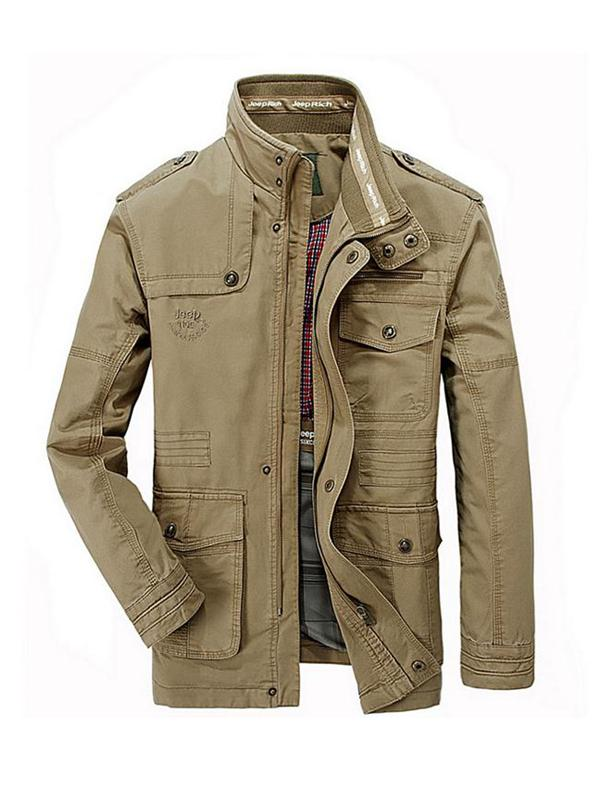 Men Plus Size Military Epaulets Outdoor Stand Collar Casual Cotton Jacket
