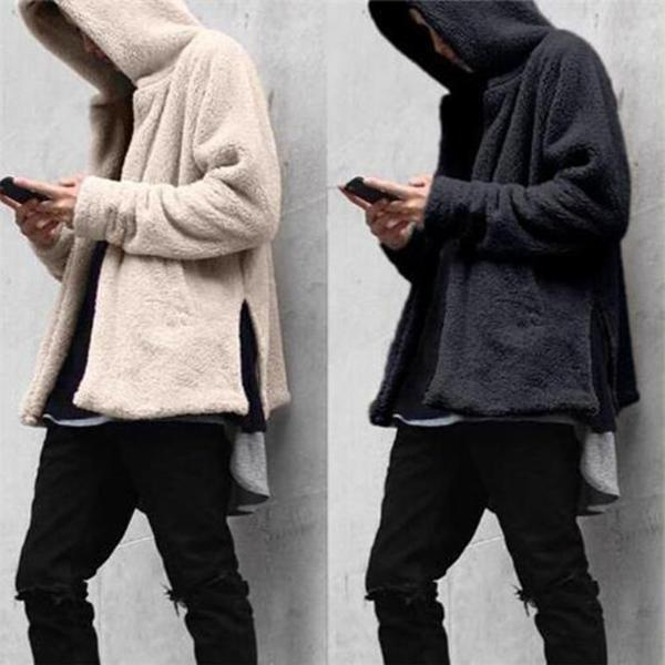Men Velvet Warm Hooded Sweater Coat