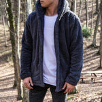 Men Fashion Fleece Hooded Jacket