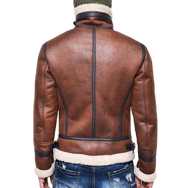 Men Retro Wool Zipper Leather Coat