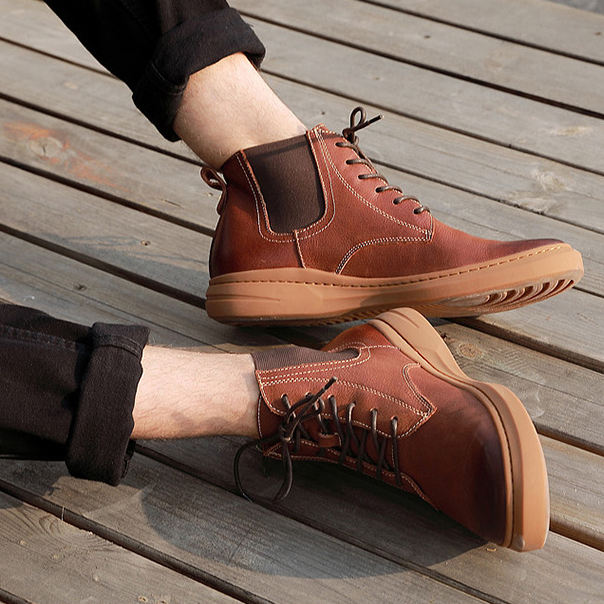 Men Genuine Leather Lace Up Ankle Boots