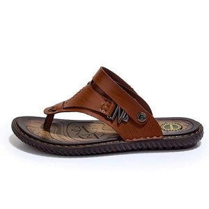 Men Metal Decoration Clip Toe Hand Stitching Flat Casual Beach Sandals