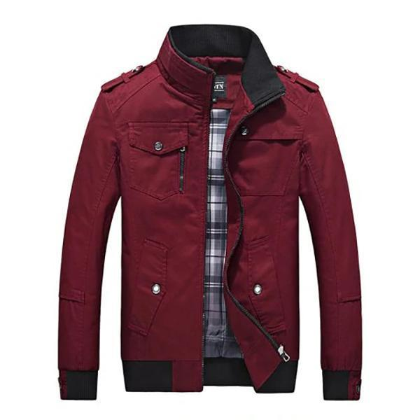 Men Collar Solid Color Casual Zipper Jacket
