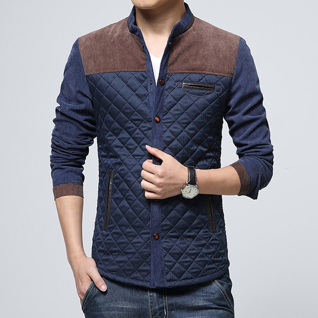 Men Cotton Mix Color Casual Jacket
