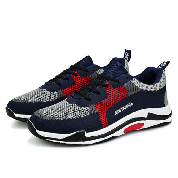 Men Knitted Fabric Super Breathable Sport Running Sneakers