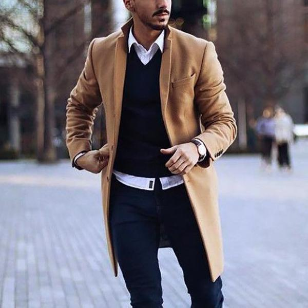 Men Plain Button Khaki Long Coat