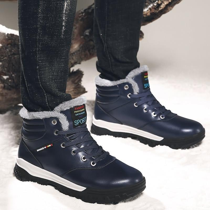 Large Size Men Waterproof Warm Plush Lining Lace Up Ankle Boots