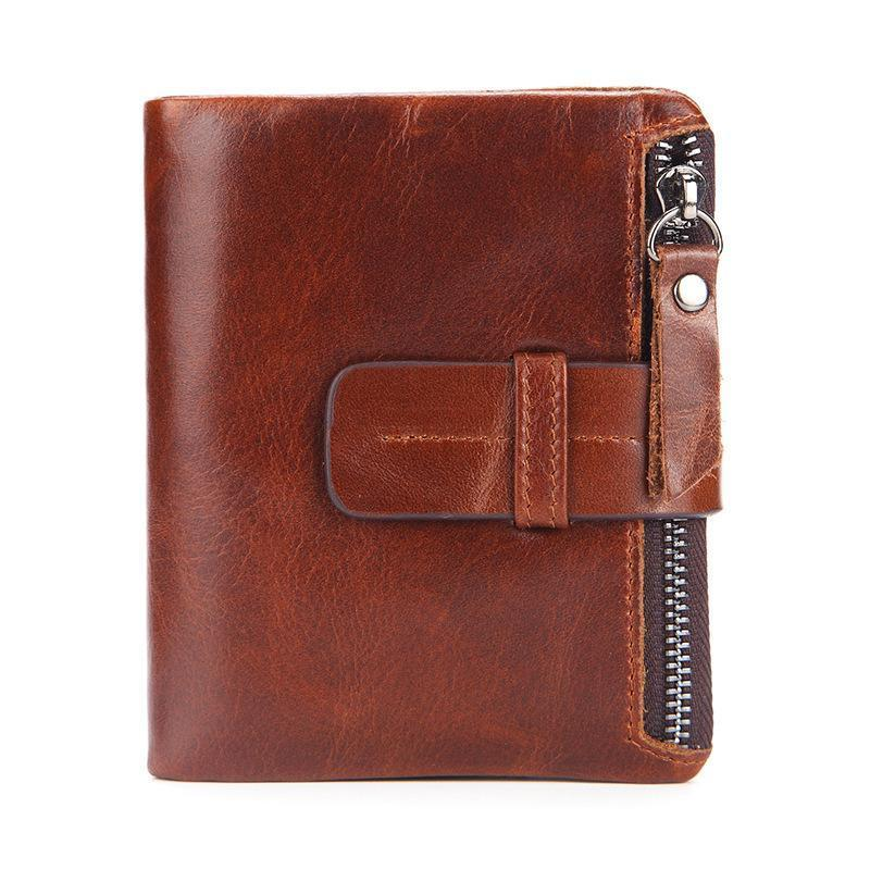 Men's Genuine Leather Short Zipper Wallet
