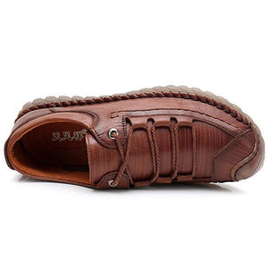 Men Hand Stitching Leather Anti-collision Soft Sole Casual Shoes
