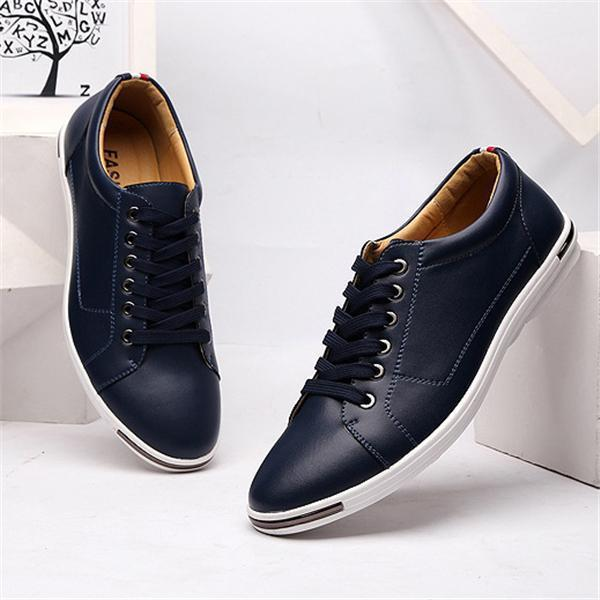 Men's Plus Size Casual Shoes Fashion Breathable Leather Shoes