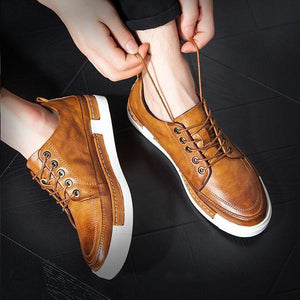 Large Size Men Vintage Leather Low Top Casual Boots
