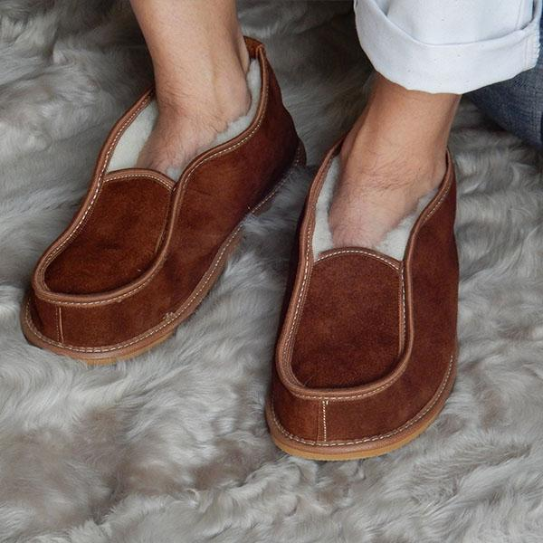 Men Soft Genuine Leather Warm Slippers