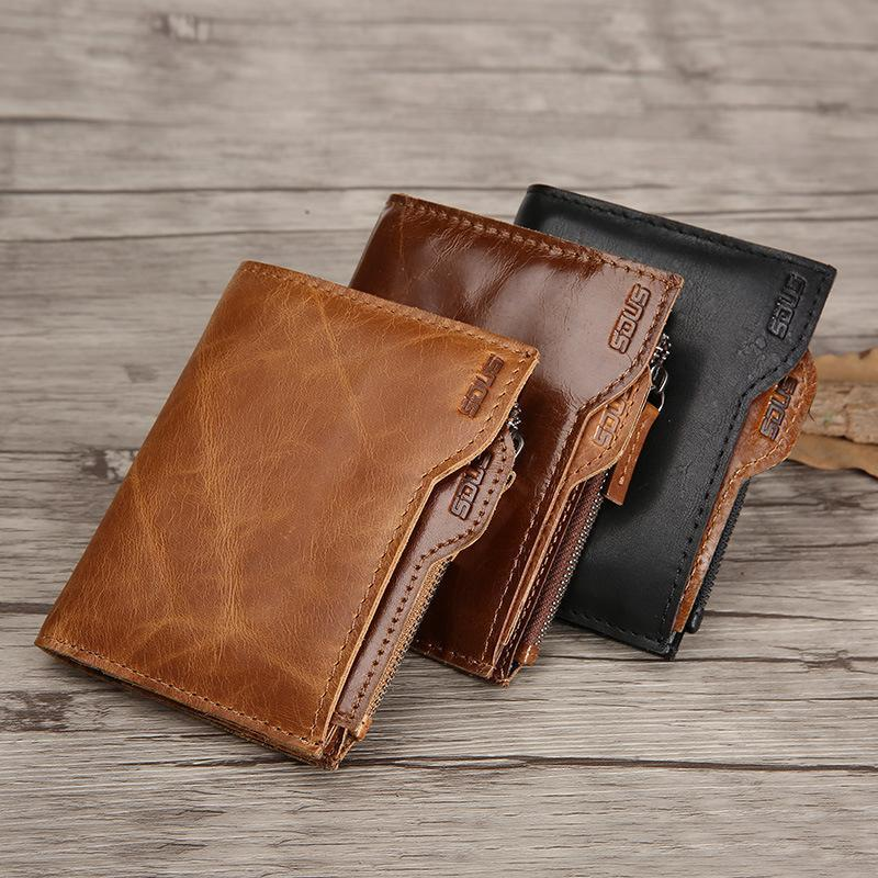 Men's Genuine Leather Retro Short Wallet