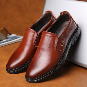 Men Comfy Genuine Leather Round Toe Slip On Oxfords