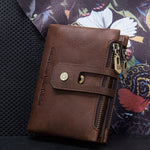 Men's Genuine Leather Double Zipper Buckle Wallet
