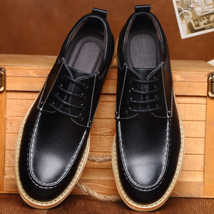Men Genuine Leather Lace Up Heel Increasing Casual Shoes