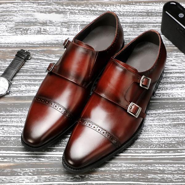 Man Classic Handmade Genuine Leather Double Buckles Monk Shoes