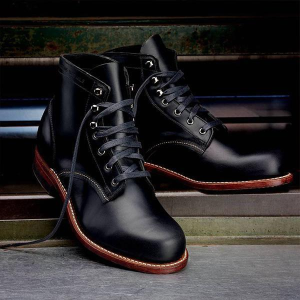 Large Size Men Genuine Leather High Top Boots