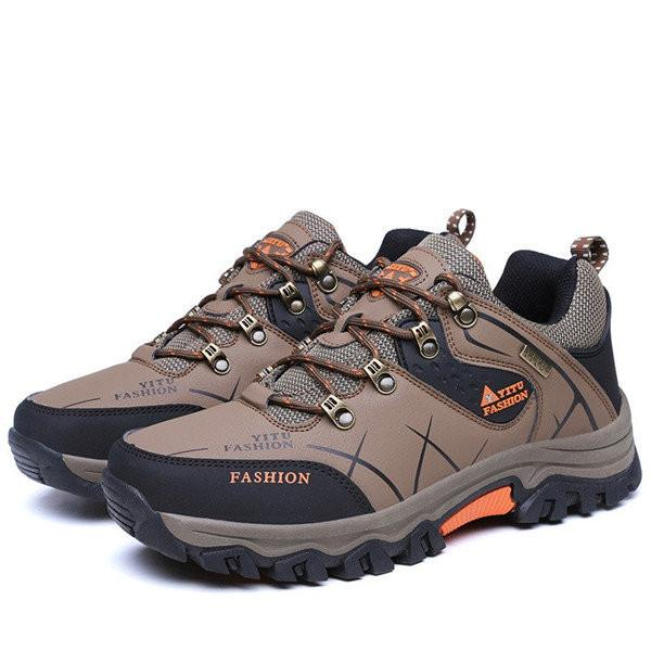 Men  Outdoor Slip Resistant Lace Up Casual Hiking Shoes