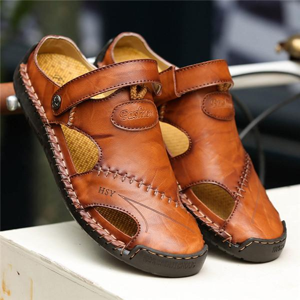 1f7f9bf65dad Men Hand Stitching Soft Outdoor Closed Toe Leather Sandals – YEEZE