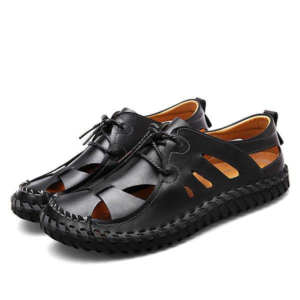Mens Casual Breathable Beach Non-slip Genuine Leather Sandals