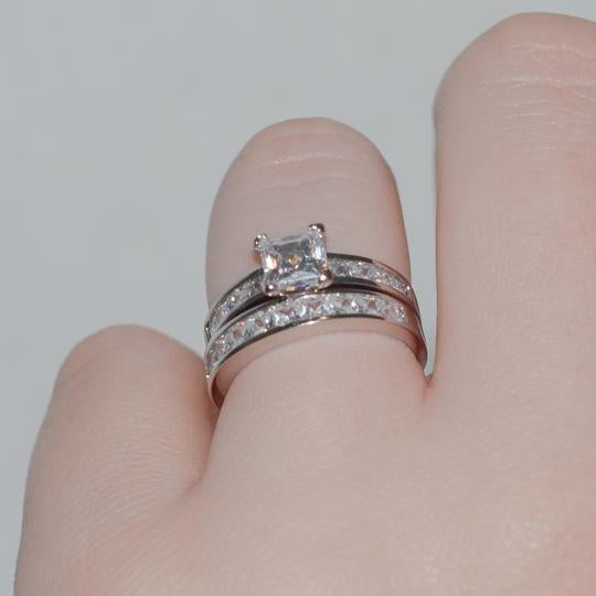 Diamond 925 Sterling Silver 2-Pcs Wedding Ring Set