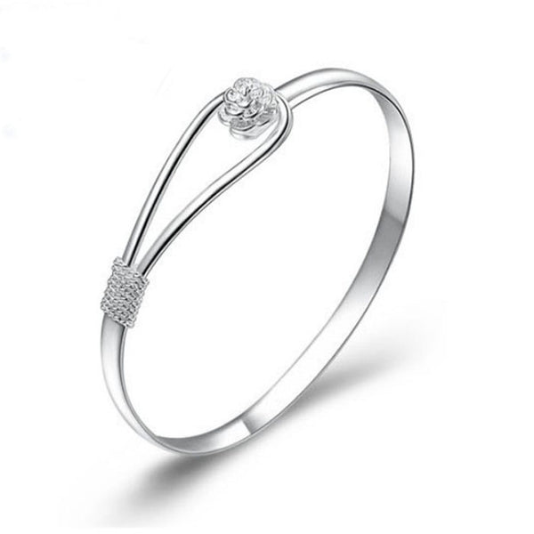New Arrival Silver with Nice Flower Clasp Bangle Bracelet