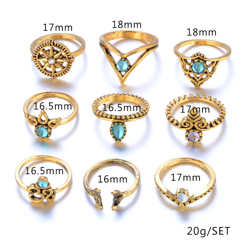 9pcs/Set Women Bohemian Vintage Silver Stack Rings Above Knuckle Blue Rings Set