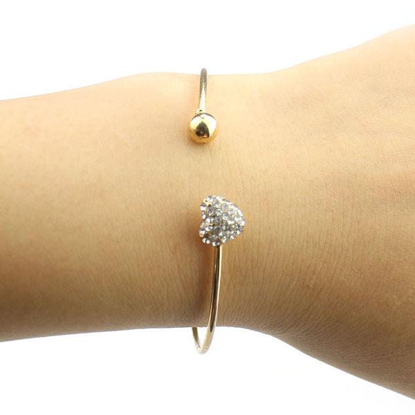 Love Heart Rhinestone Pendant Open Bangle Bracelet