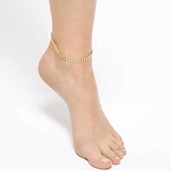 Gold Barefoot Coin Ankle Chain Anklet