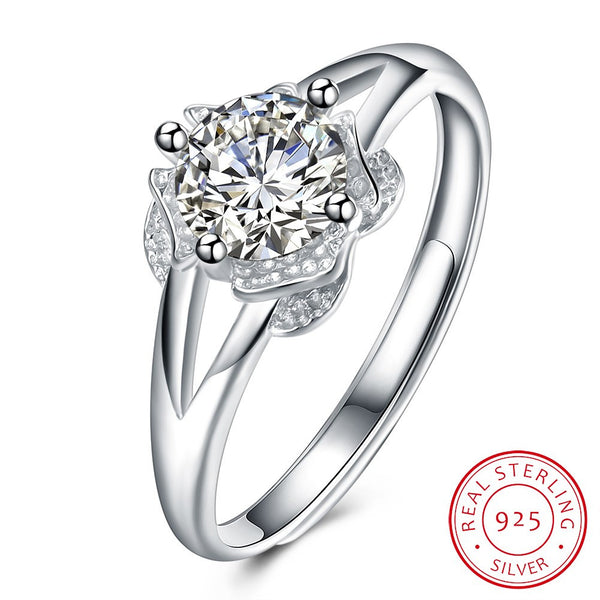 Fashion Flower shape 925 Sterling Silver Ring