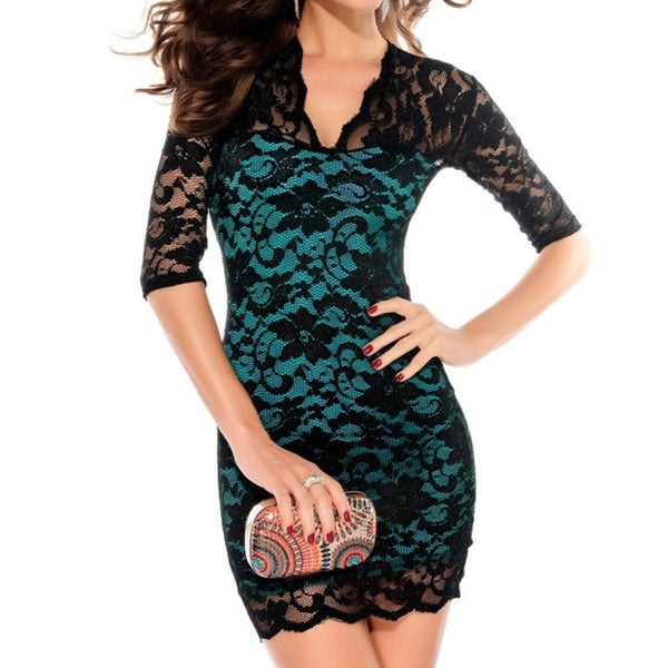 Scalloped Neck Sexy Slim Lace Dress
