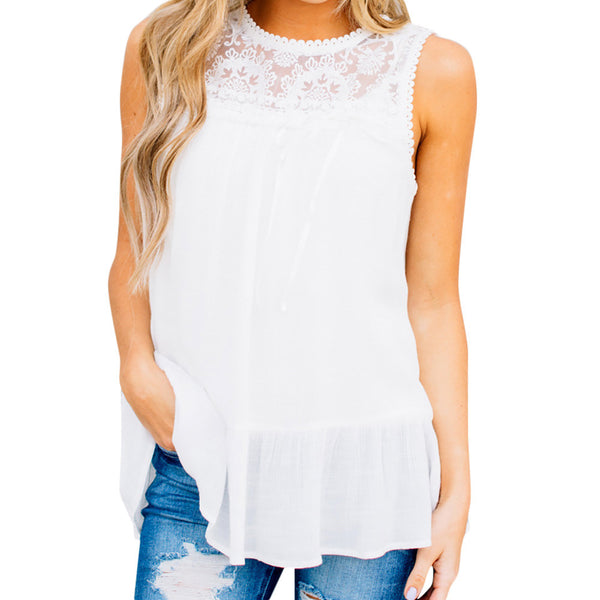 Lace Vest Sleeveless Loose Crop Tops