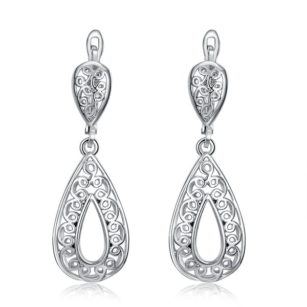 18K White Gold Plated Drop Earrings