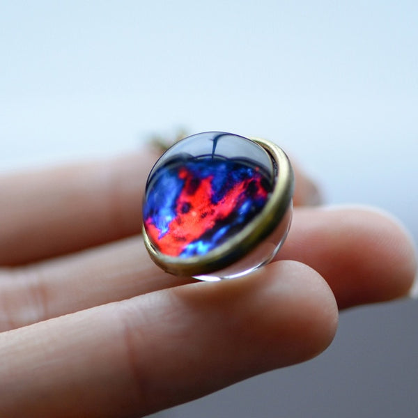 Nebula Galaxy Double Sided Glass Art Picture Pendant Necklace