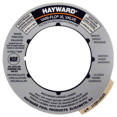 Hayward Sand Filter Cover Label for SP0714T