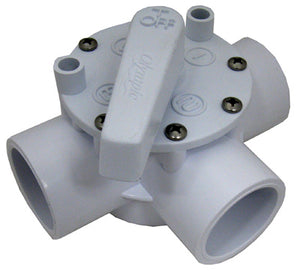 "Abs 3 Way Valve 1 1/2"" Slip White"