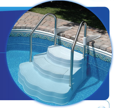 Oasis Inground Pool Step with Stainless Steel Handrail Kit