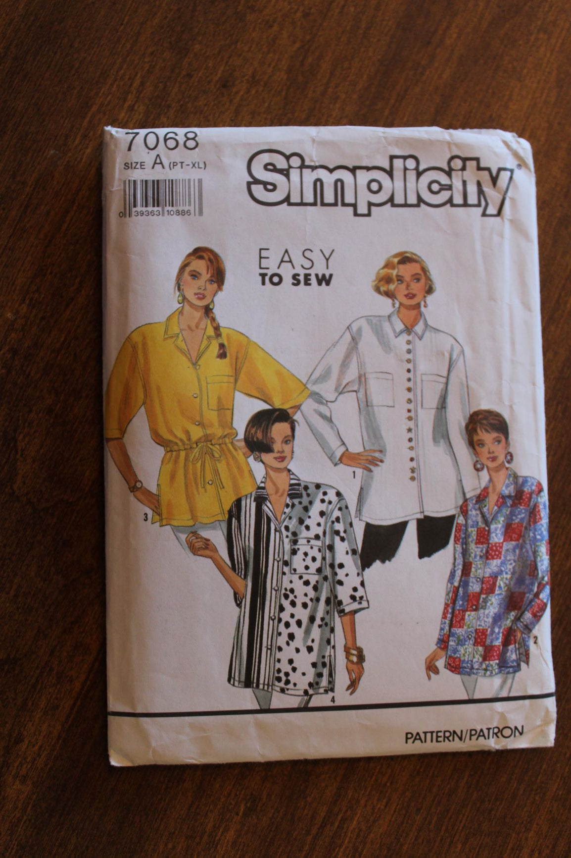 Simplicity 7068, Misses Shirts, Uncut Sewing Pattern