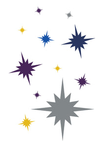Custom Mid Century modern art titled Holiday Starburst, created by Mid-Century Mod-ify, Christmas wall decor