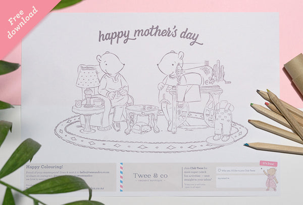 mother's day free colouring activity download from Twee & co Organic Boutique