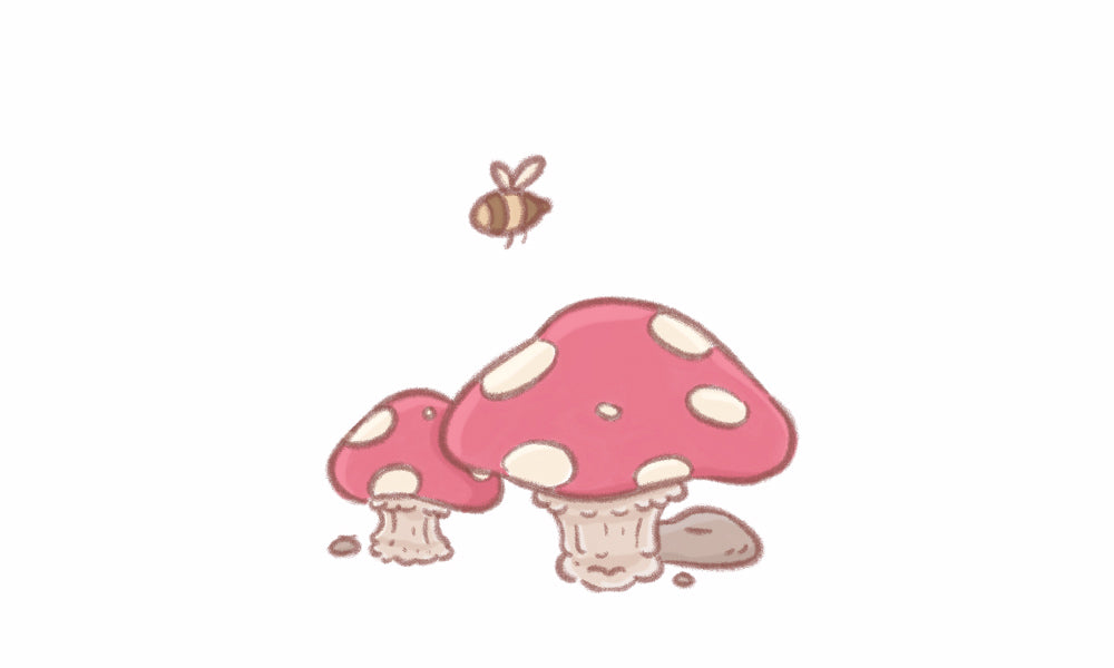 illustration of toadstool and bumble bee
