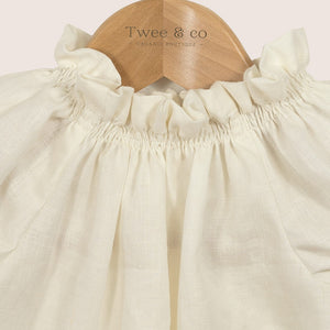 New by Twee & co Poppet blouse - organic linen cream - Made from organic fabrics and hand crafted by Twee & co Organic Boutique - Made in New Zealand. Shop online organic baby clothes and organic children's clothes
