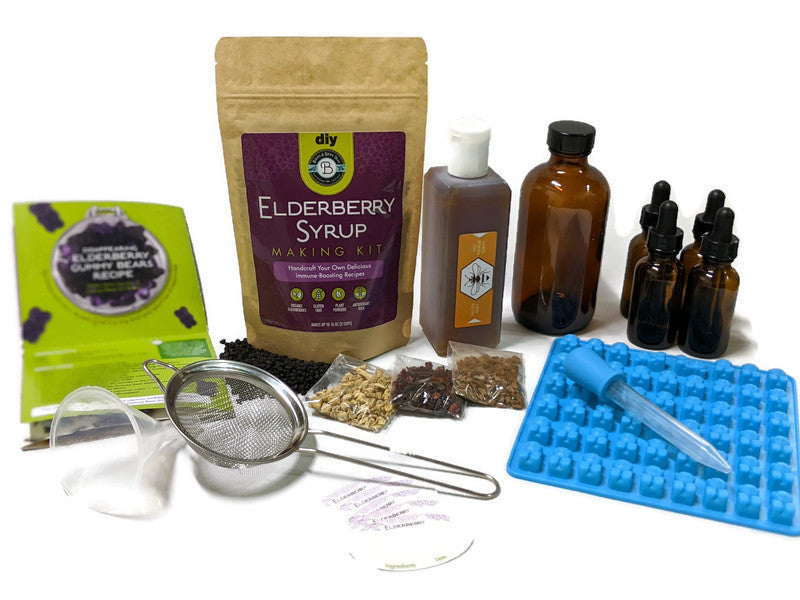 Elderberry Syrup Making Kit - Elderberry DIY Syrup - Organic Elderberries, Organic Cinnamon, Organic Ginger, & Organic Rosehips