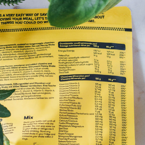 Plenny Shake Nutrition Label