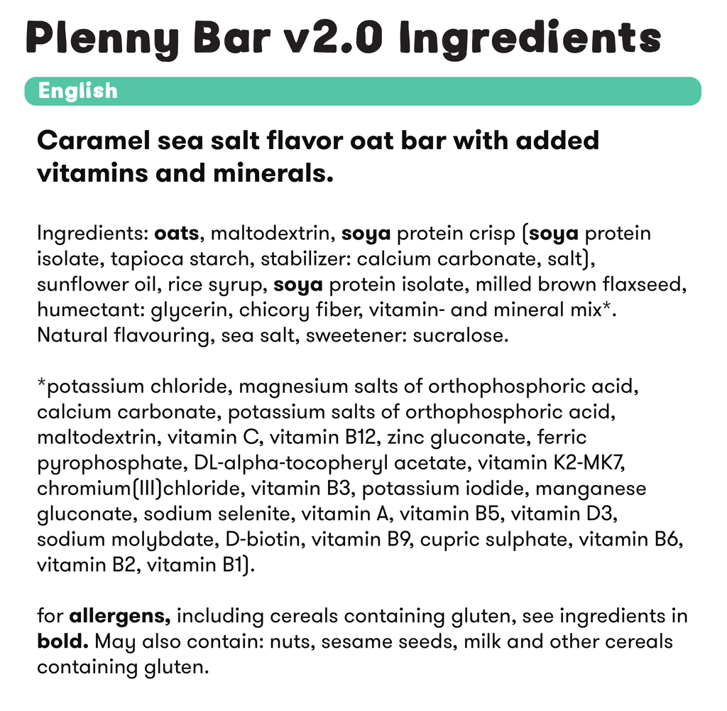plenny bar 2.0 ingredients